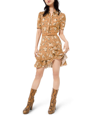 Short-Sleeve Ruffled Floral-Silk Shirtdress w/ Belt