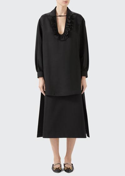 Long-Sleeve Fluid Silk/Viscose Tunic