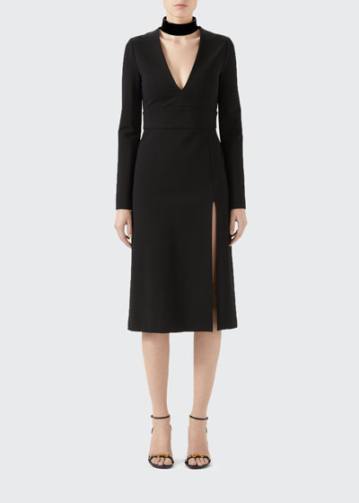 Compact Jersey Deep-V Dress with Detachable Collar