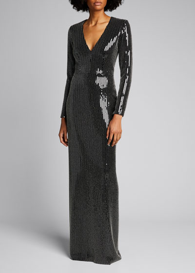 Studded Sequined Gown