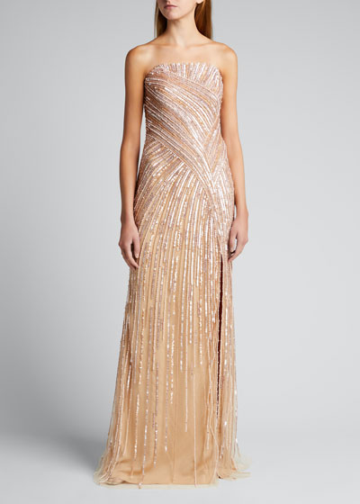 Sequin Embroidered Strapless Gown