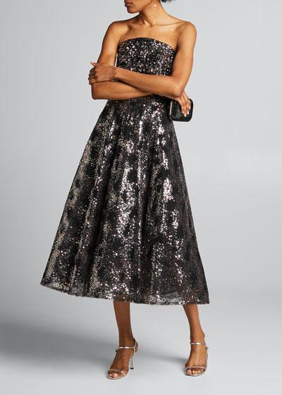 Strapless Metallic Sequined Tea-Length Dress