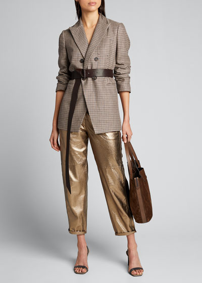 Metallic Leather Relaxed Pants