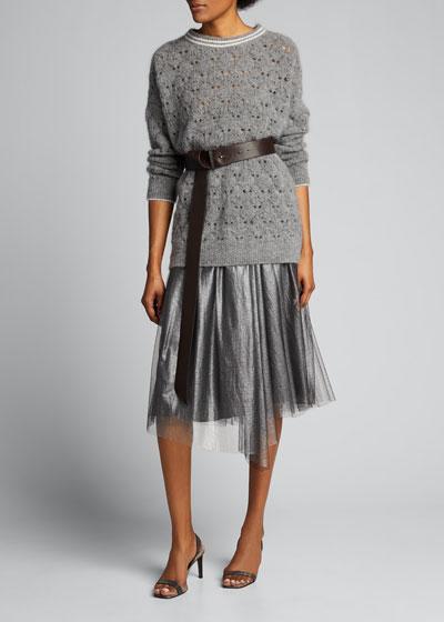 Metallic Tulle Pleated Midi Skirt