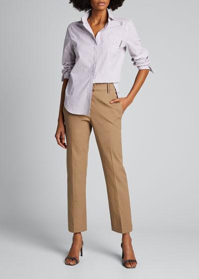 Cotton Straight-Leg Crop Pants