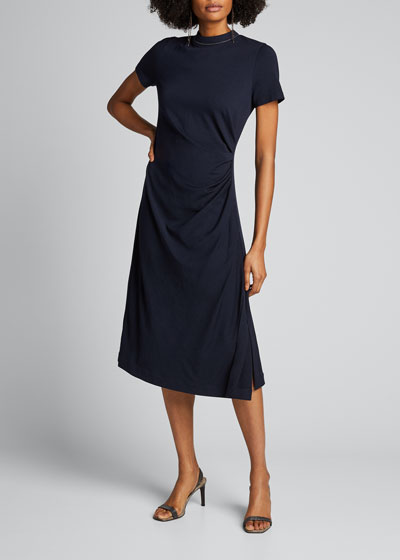 Wool Jersey Short-Sleeve Dress