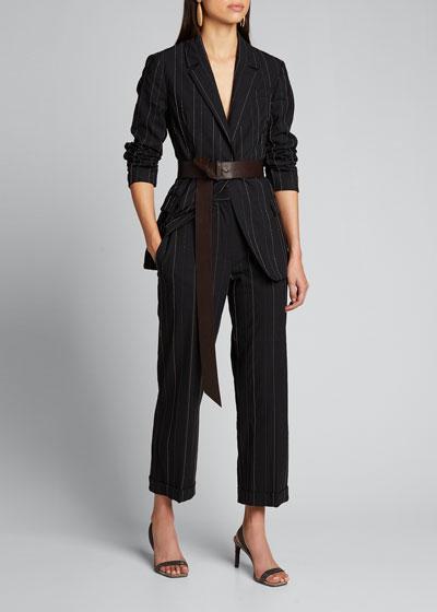 Monili-Pinstriped Tropical Wool Pants