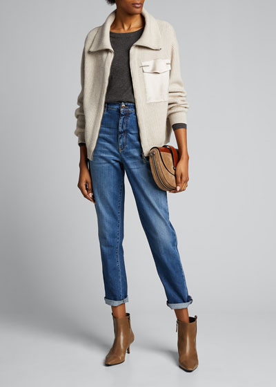 Wide Ribbed Cashmere Zip-Front Cardigan