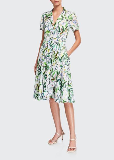 Leaf Print Short-Sleeve Shirtdress