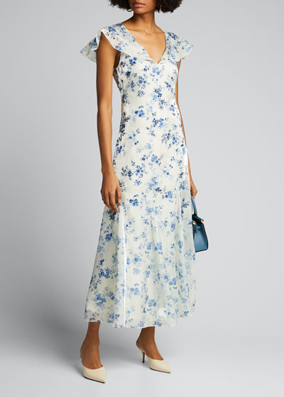Kegan Floral Toile Evening Dress