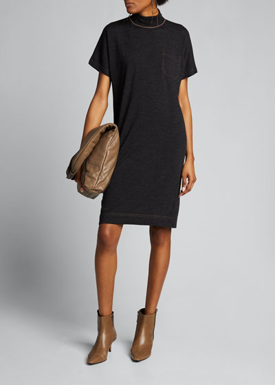 Wool-Cashmere Short-Sleeve Dress