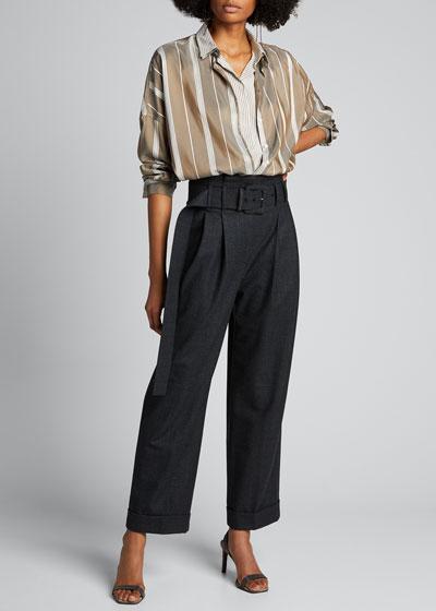Layered Striped Silk Blouse