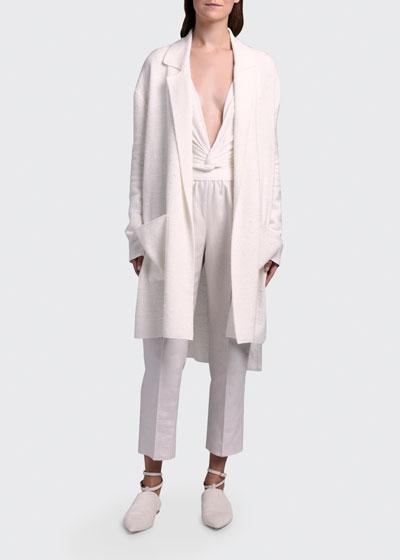Silk-Linen Knit Duster Coat