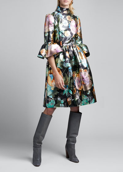 Flared Brocade Flare-Sleeve Dress