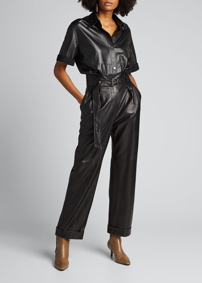 High-Rise Paperbag-Waist Leather Pants