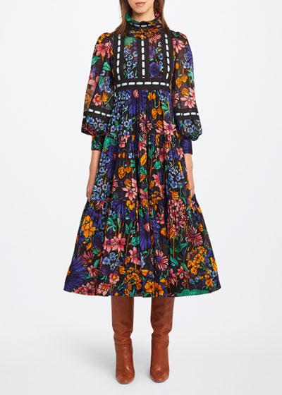 Floral-Print Tiered Voile Prairie Dress