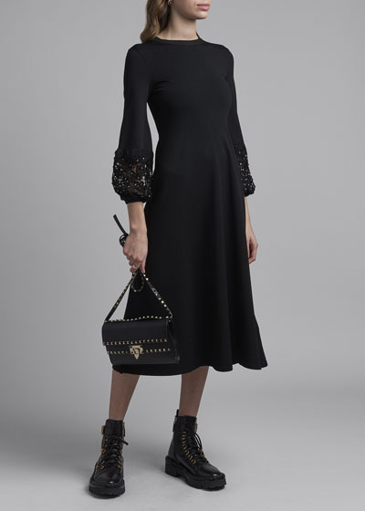 Lace-Cuff Knit Dress
