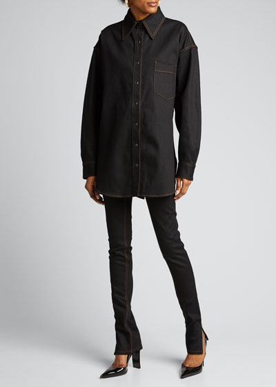 Slit-Hem Skinny Jeans
