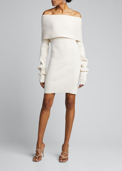 Ribbed Wool-Silk Off-the-Shoulder Dress