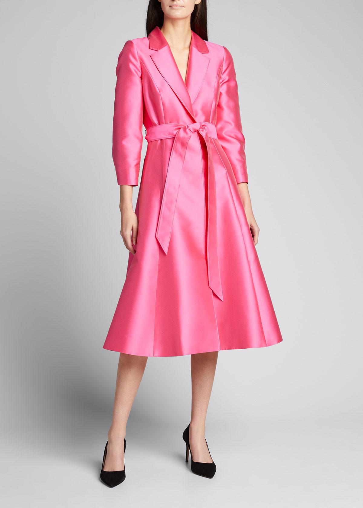 Carolina Herrera Taffeta Trench-style Cocktail Dress In Pink