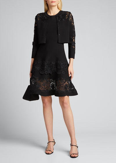 Sleeveless Guipure Lace Fit-&-Flare Dress