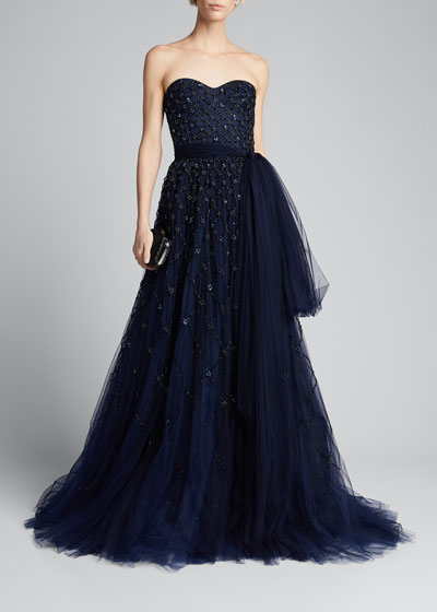 Embroidered Tulle Strapless Gown