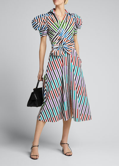 Striped Poplin Puff-Sleeve Shirtdress