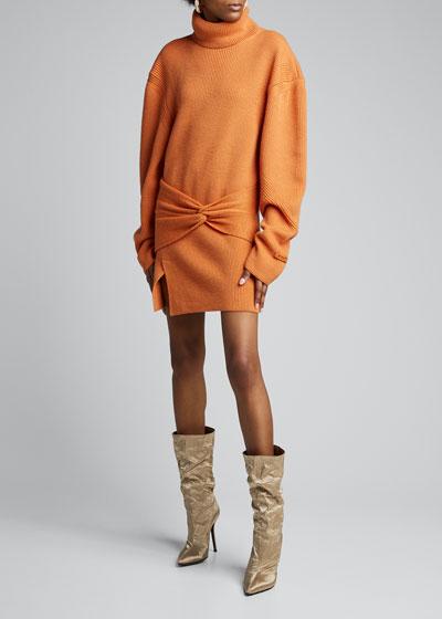Wool Turtleneck Wrap Dress