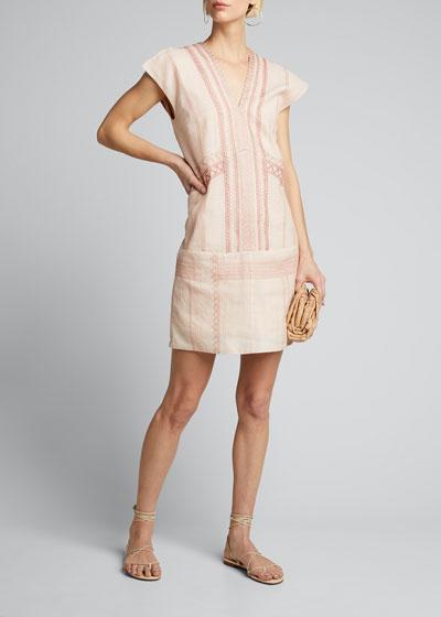 Priscila Embroidered Linen Mini Dress