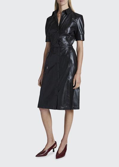 Kura Leather Midi Shirtdress