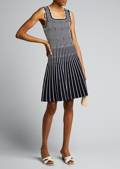 Variegated Striped Sleeveless Dress