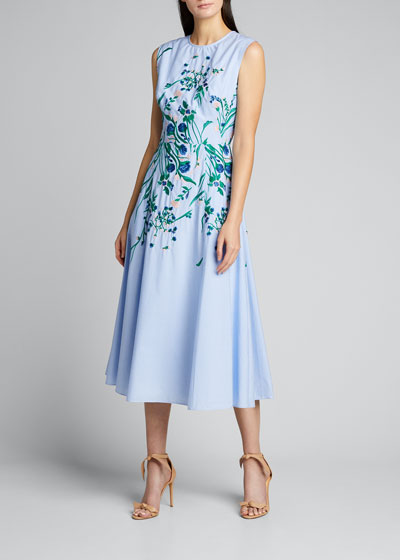 Embroidered Floral Full-Skirt Dress