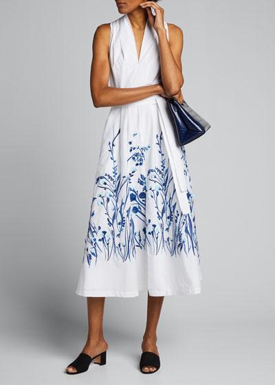 Floral Print Belted Poplin Midi Dress