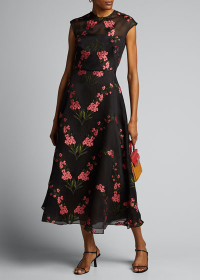 Floral Embroidered Chiffon Full-Skirt Dress