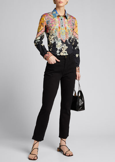 Cotton Stained Glass Floating Combo Print Shirt