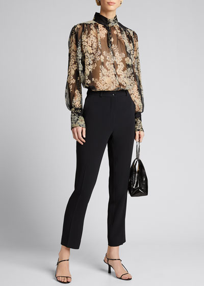 Cady Mid-Rise Crop Trousers