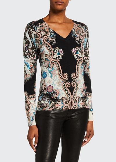 Stampa Silk Stretch V-Neck Sweater