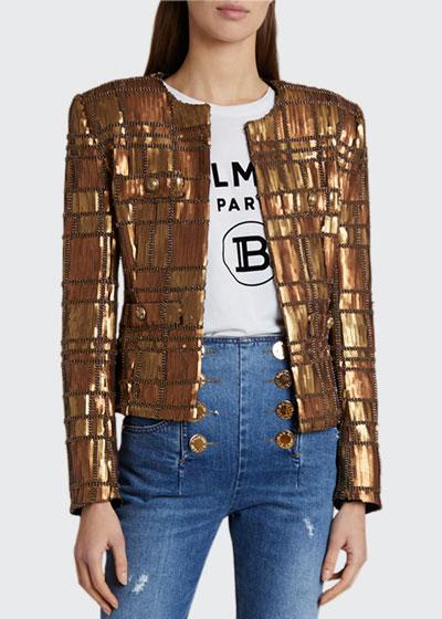 Sequined Tartan Jacket