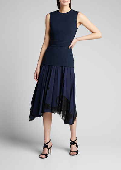 Sleeveless Combo Dress w/ Lace Bottom