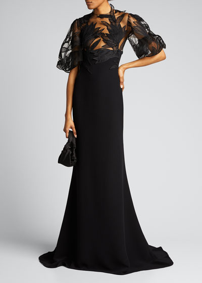 Embroidered Tulle-Bodice Crepe Gown