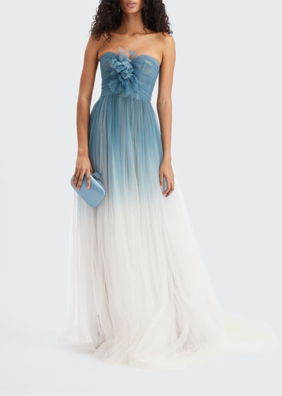 Ombre Tulle Strapless Gown