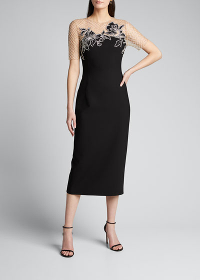 Short-Sleeve Midi Dress w/ Embroidered Netting