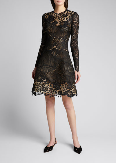 Long-Sleeve Multi Lace Cocktail Dress
