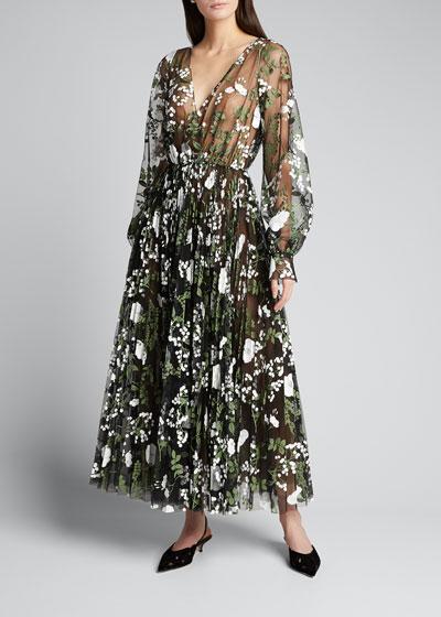 Floral Embroidered Long-Sleeve Tea-Length Dress