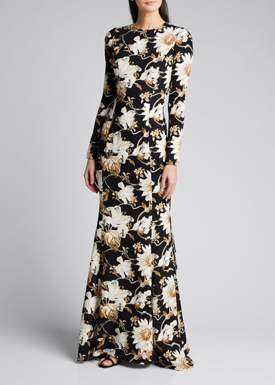 Long-Sleeve Crepe Daisy Gown