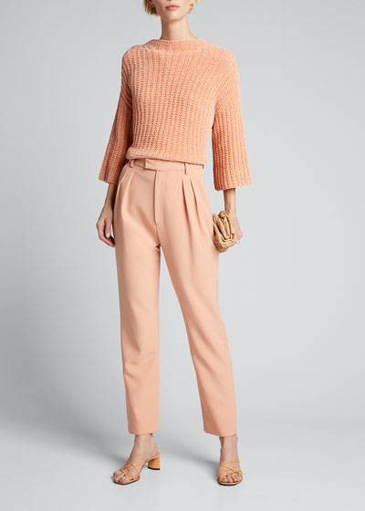Matte Crepe High-Waist Pleated Trousers