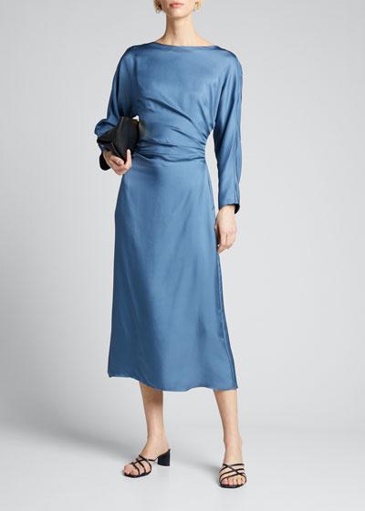 Silky Twill Draped Dolman-Sleeve Dress