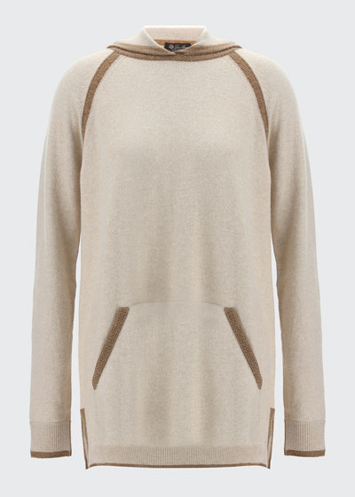 Contrast Hooded Cashmere Sweater