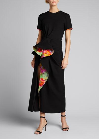 Floral-Printed Cascade Midi Shirt Dress