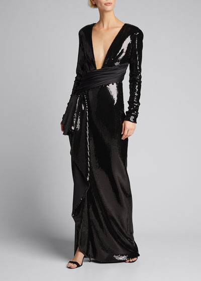 Sequin Plunge-Neck Long-Sleeve Cascading Front Gown